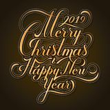 Merry Christmas and Happy New Year. Text. Calligraphic Lettering design card template. Creative typography for Holiday stock illustration