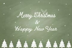 Merry Christmas and Happy New Year text chalk Stock Photo