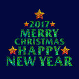 Merry Christmas 2017 and Happy new year text design with stars on dark background Stock Image
