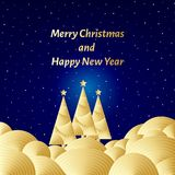 Merry christmas and happy new year text. Golden stars on the dark blue sky on Christmas eve. Creative vector card, festive carniva. L colorful night party Royalty Free Stock Images