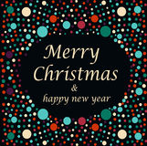 Merry Christmas  and happy new year text. Greeting card or background  illustration -dark background with colored light Stock Photography