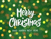 Merry Christmas and Happy New Year text, hand drawn lettering. Blurred background with glowing lights. Great for. Merry Christmas and Happy New Year text, hand royalty free illustration