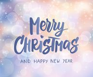 Merry Christmas  and Happy New Year text. Holiday greetings quote. Blurred winter background with falling snow effect. Merry Christmas and Happy New Year text Stock Photo