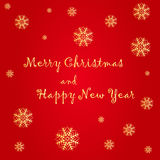 Merry Christmas and Happy New Year. Text label on a red background with snow and snowflakes Stock Photo