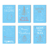 Merry Christmas, Happy new year  text label on a winter background with snow and snowflakes. Royalty Free Stock Image