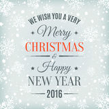 Merry Christmas and Happy New Year text label. Royalty Free Stock Photo