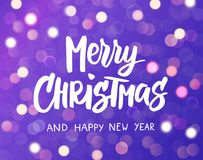 Merry Christmas and Happy New Year text. Holiday greetings quote. Purple background with sparkling glowing lights. Bokeh stock illustration