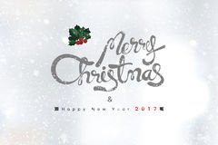 Merry Christmas and Happy New Year 2017 text on snowfall backgro. Merry Christmas and Happy New Year 2017 text on white blur background with snowfall Stock Images