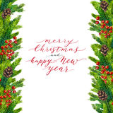 Merry Christmas and Happy New Year text on watercolor  border. Merry Christmas and Happy New Year text on watercolor christmas border of fir branches, cones and Stock Photos