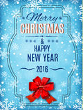Merry Christmas and Happy New Year  text on winter background. Merry Christmas and Happy New Year text on winter background with red bow, snow and snowflakes Stock Photos