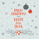 Merry Christmas, Happy new year  text. On a winter background with snow and snowflakes. Greeting card template, poster with quote. T-shirt design, card design Royalty Free Stock Image