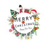 ``Merry Christmas and happy new year`` text wreath round frame. Happy new year greeting colorful light bulb, snow man. Background stock illustration