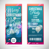Merry Christmas and happy New Year ticket design, vector illustration royalty free illustration