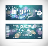 Merry Christmas and happy New Year ticket design, vector illustration. Merry Christmas and happy New Year party ticket modern style design, vector vintage detail Royalty Free Stock Images