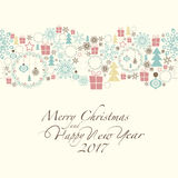 Merry Christmas and Happy New Year. At the top of the card contains the Christmas decorations and symbols of Christmas and new year. The phrase merry christmas Stock Photos