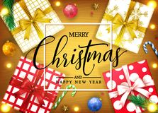 Merry Christmas and Happy New Year Top View Decorative Banner With Realistic Gift Boxes royalty free illustration