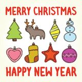 Merry christmas and happy new year toys Stock Images