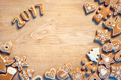 Merry Christmas and Happy new year! Traditional Christmas cookies on wooden table Royalty Free Stock Photography