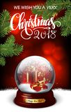 Merry Christmas and a Happy New Year. Transparent sphere with gi Stock Photo