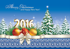 Merry Christmas and Happy New Year 2016. With a Christmas tree stock illustration