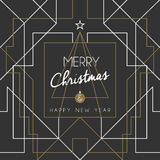 Merry christmas happy new year tree art deco line Stock Photo