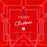 Merry christmas happy new year tree art deco line Royalty Free Stock Images