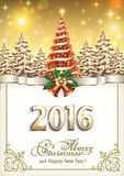 Merry christmas and a happy new year 2016. Merry Christmas and Happy New Year 2016 with a Christmas tree in the background of nature Stock Photos