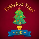 Merry Christmas and Happy New Year Tree Card Royalty Free Stock Image
