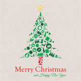 Merry Christmas and Happy New Year Tree Collage Royalty Free Stock Image