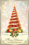 Merry Christmas and Happy New Year. Christmas tree and Christmas decorations Royalty Free Stock Photography