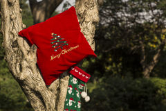 Merry Christmas And Happy New Year tree gifts concept Royalty Free Stock Photography