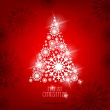 Merry Christmas and happy new year. Christmas tree made of snowflakes on red background vector illustration