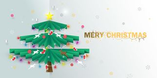 Merry Christmas. happy new year. Christmas tree and ornaments. Illustration vector stock illustration