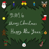 Merry Christmas and Happy New Year 2016 - Tree Ornaments. Vector Illustration Stock Photos