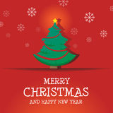 Merry Christmas and Happy New Year. Tree Ribbon Star and Snow Flakes Background Royalty Free Illustration