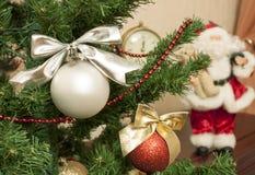 Merry Christmas and Happy New Year. Christmas Tree, Santa, decoration Royalty Free Stock Image