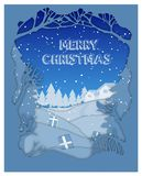Merry Christmas and Happy New Year, Christmas tree and snowflake royalty free illustration