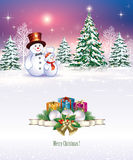 Merry Christmas and Happy New Year. Christmas tree and snowman on the background of a winter landscape stock illustration