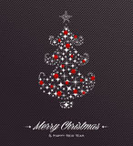 Merry Christmas and Happy New Year tree stars card Stock Photo