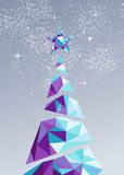 Merry christmas happy new year tree triangle 2016. Merry christmas and happy new year holiday pine tree with star in low poly abstract triangle style. Ideal for royalty free illustration