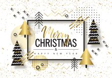 Merry Christmas and Happy New Year. Trendy background with Golden trees and geometric designs . Poster, card, label, banner design Royalty Free Stock Images