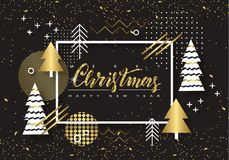 Merry Christmas and Happy New Year. Trendy background with Golden trees and geometric designs . Poster, card, label, banner design Stock Photo