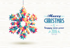 Merry christmas happy new year 2016 triangle snow Royalty Free Stock Photo