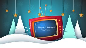 Merry Christmas, Happy New Year. TV, Fir, Landscape, Snow, Royalty Free Stock Photo