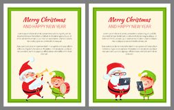 Merry Christmas Happy New Year Two Bright Banners. With Santa Claus and elf. Vector illustration with smiling xmas symbols in green square frame stock illustration