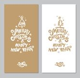 Wo greeting cards with an inscription and a Xmas tree and snow. Vector template for the 2019, 2020 New Years. Merry Christmas & Happy New Year! Two greeting royalty free illustration