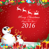 Merry Christmas and Happy New Year 2016. Two snowman in winter on red background. Royalty Free Stock Photography