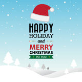 Merry Christmas and Happy New Year typographic background Stock Photo