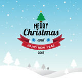 Merry Christmas and Happy New Year typographic background Stock Photos
