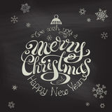 Merry Christmas And Happy New Year typographic background. Stock Images
